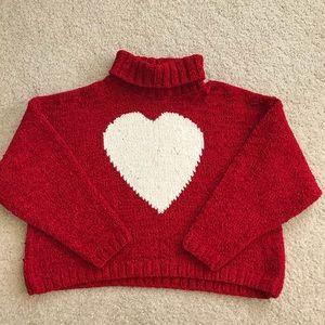 Vintage red heart turtleneck crop sweater, M/L
